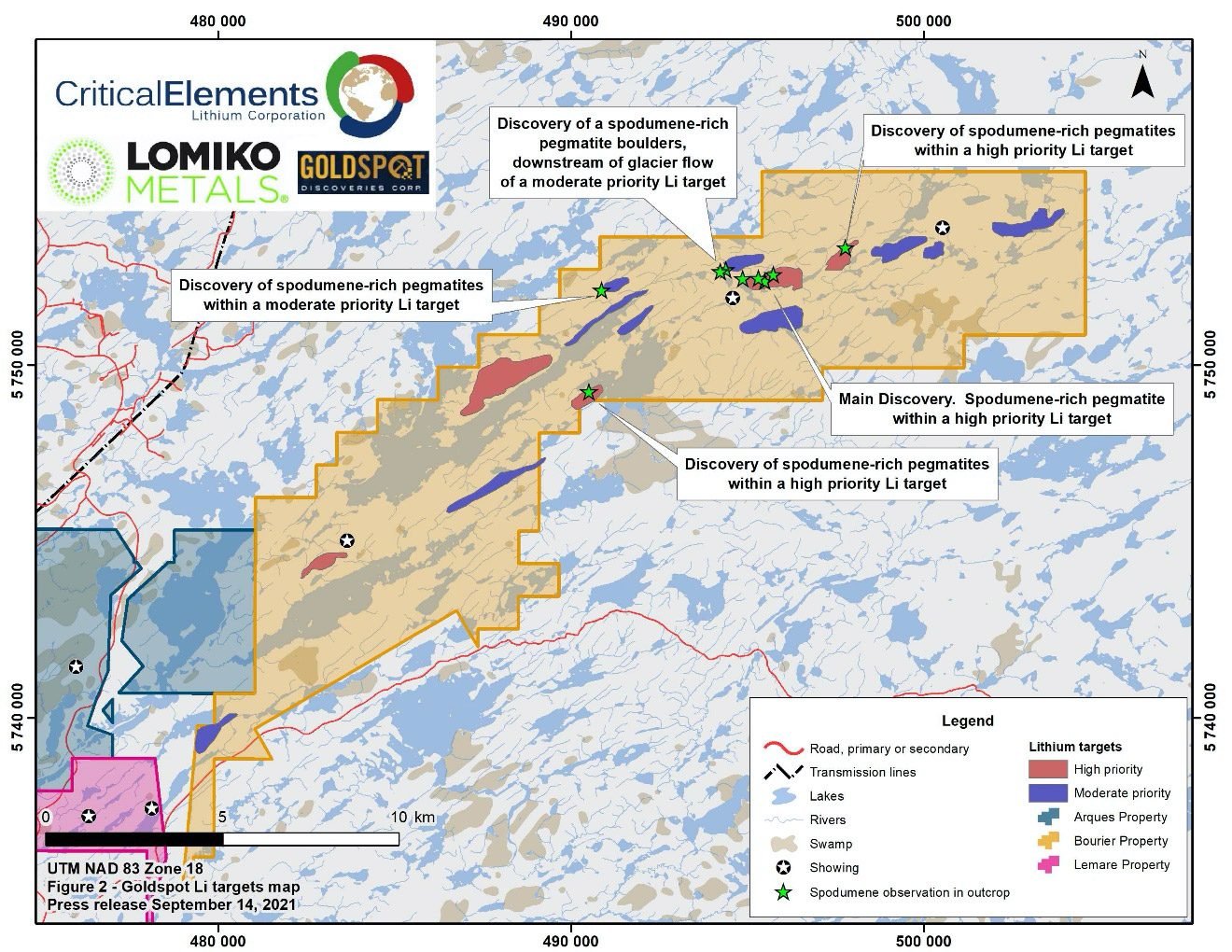 Lithium targets and location of new spodumene-rich pegmatites within Critical Elements and Lomiko Metals' Bourier claims.